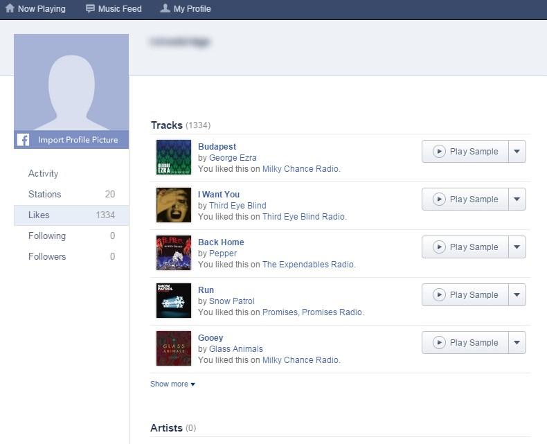 Example pandora likes page.